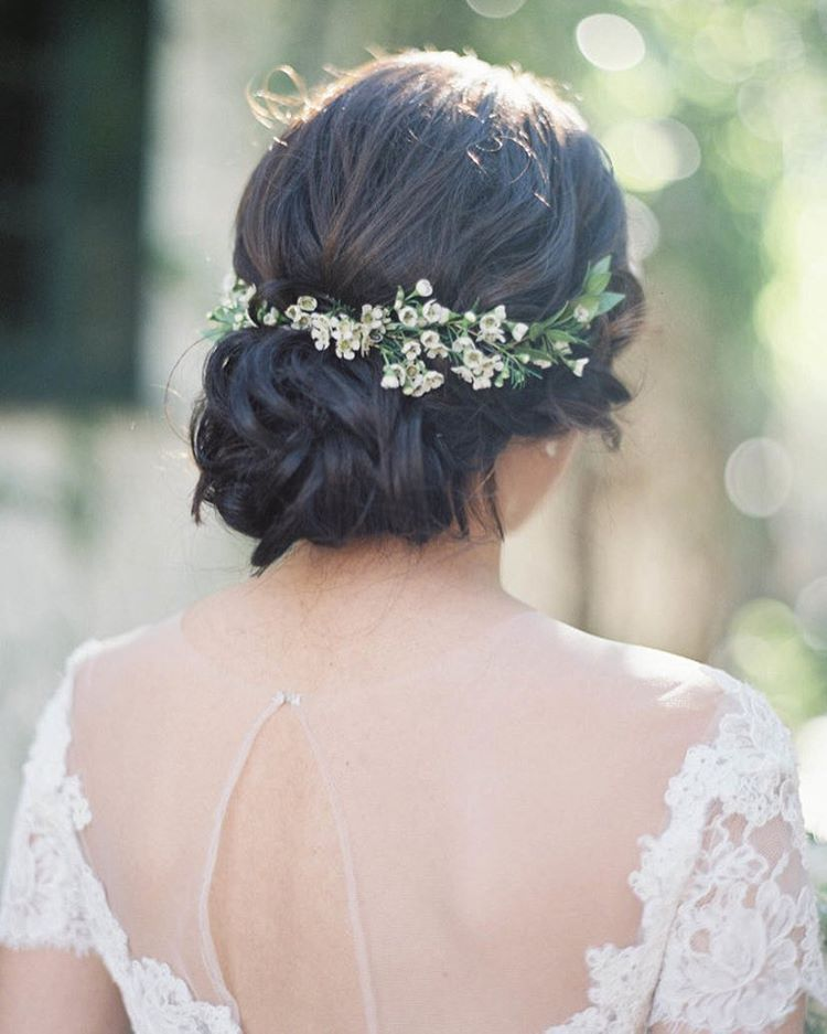 """20 Wedding Hairstyles With Flowers: Style Me Pretty On Instagram: """"Loving This Messy Bun"""