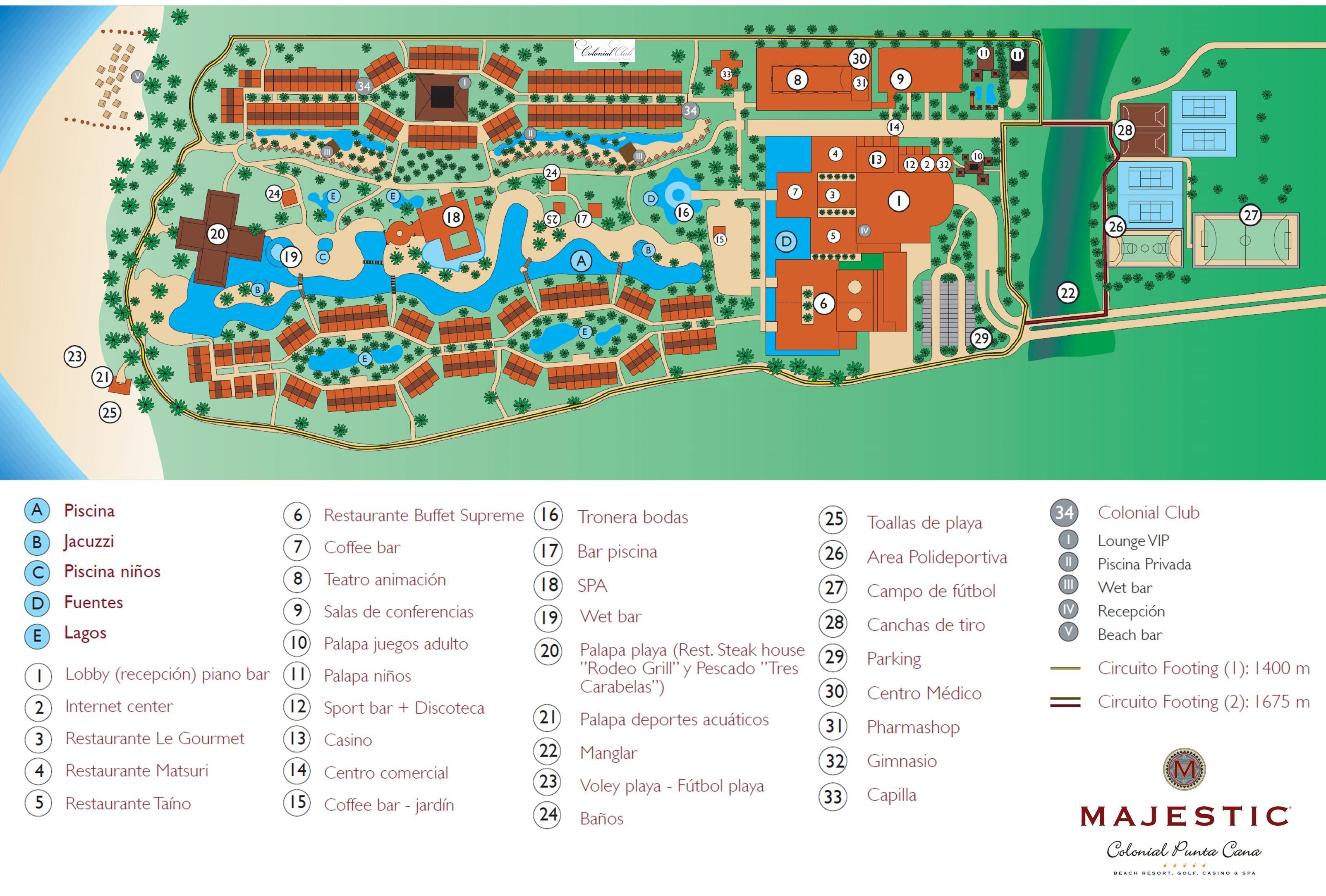 Majestic Colonial Resort Map Punta Cana Destination