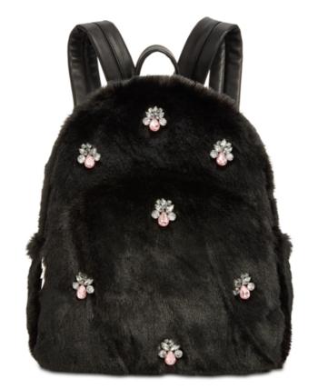 38c05991fd88 Betsey Johnson Bejeweled Faux-Fur Backpack - Black Fur Backpack