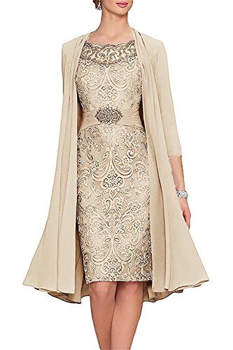 3f626bb226 New Portsvy 2 Pieces Knee Length Chiffon Mother of The Bride Dresses with  Jacket online.   158  shoppingdresses offers on top store