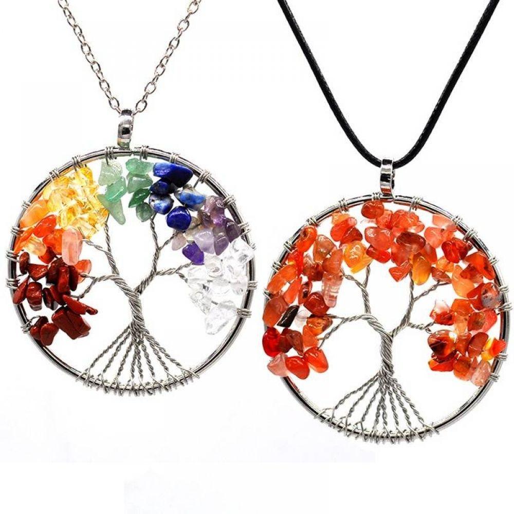 tree of life 7 chakras tree of life necklace silver chakra necklace raw stone necklace energy gift jewelry pendant unique boho women