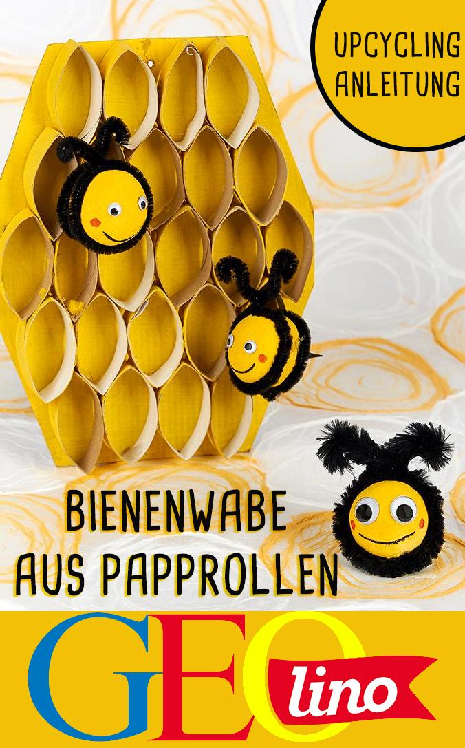 Papprollen Lassen Sich Wunderbar In Eine Tolle Bienenwabe Verwandeln!  #upcycling #basteln #bastelidee #bastelanleitung #bienen #bienenwabe  #upcyceln ...