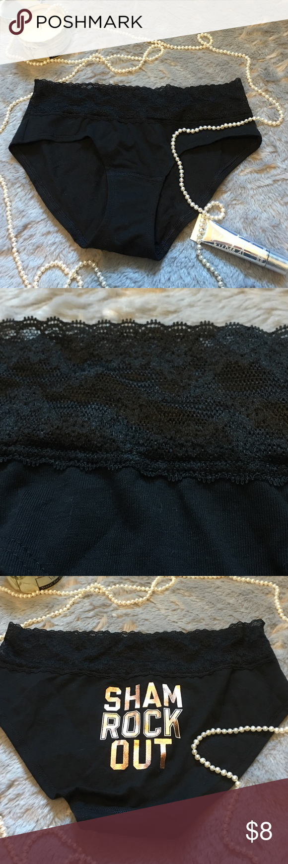 """💕Victoria's Secret💕 Victoria's Secret low rise hiphugger. Black with lace band. """"Shame Rock Out"""" on back. NWT  ❗️No Trades❗️ Proceeds go towards feeding the homeless❗️ Pour la Victoire Intimates & Sleepwear Panties"""