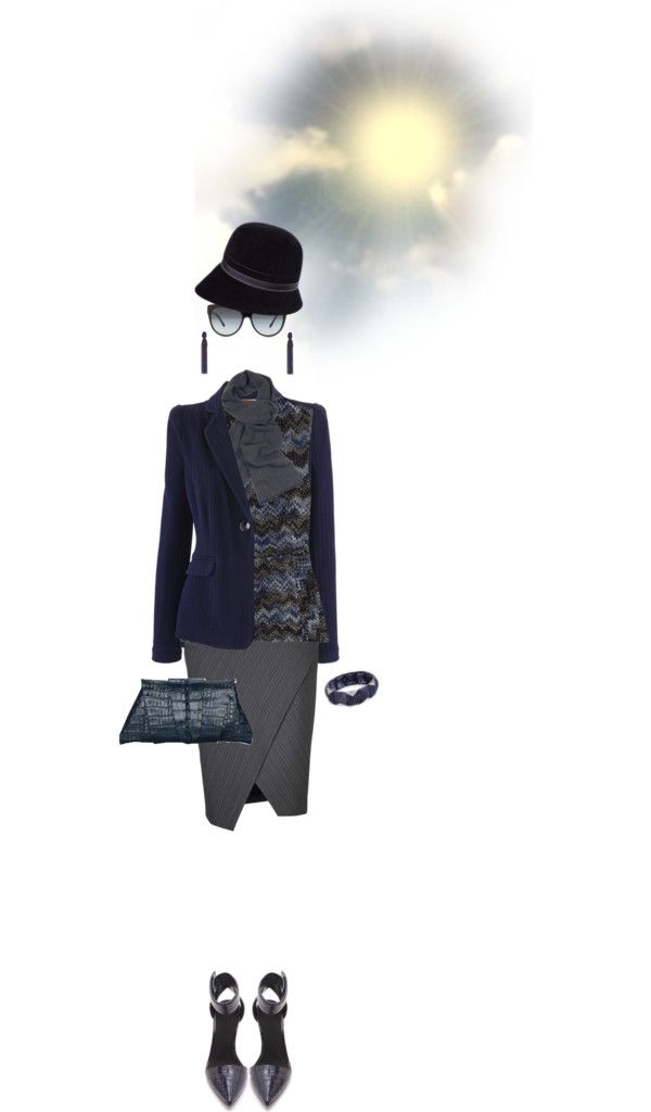 """""""Blue and Gray Ensemble"""" by designsbytraci on Polyvore"""