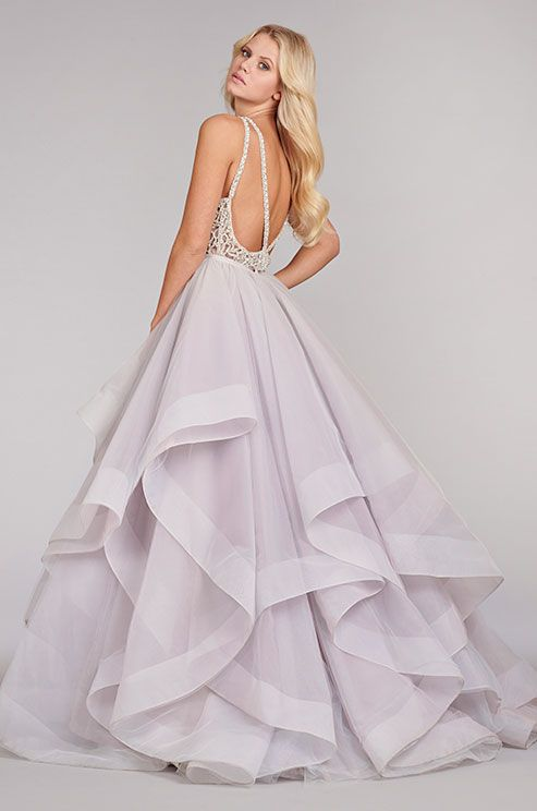 50a7da7413b A stunning lavender wedding dress features a full textured skirt and bare  back detailed with a crystal design.