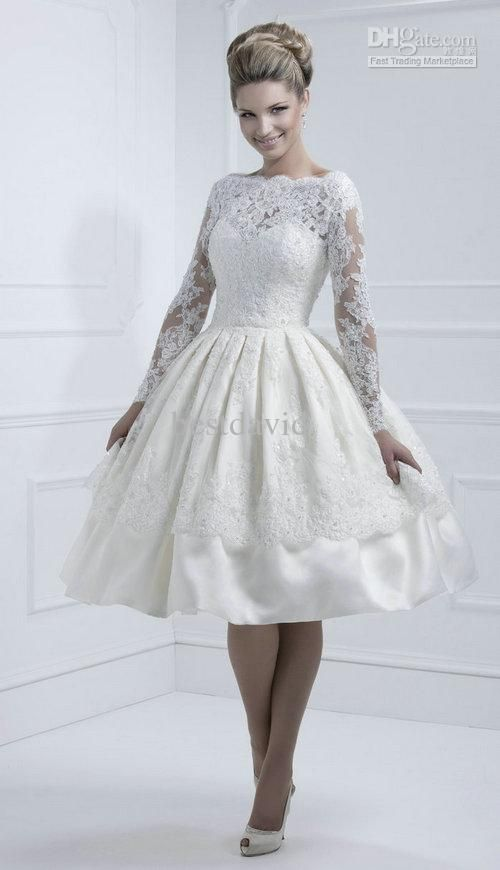 Whole Lace Open Back Short Wedding Dress Long Sleeve Tea Length A Line Satin