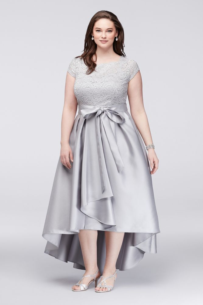 94fb510ab98 Off-The-Shoulder Lace and Mikado Plus Size Mother of Bride Groom Dress -  Silver