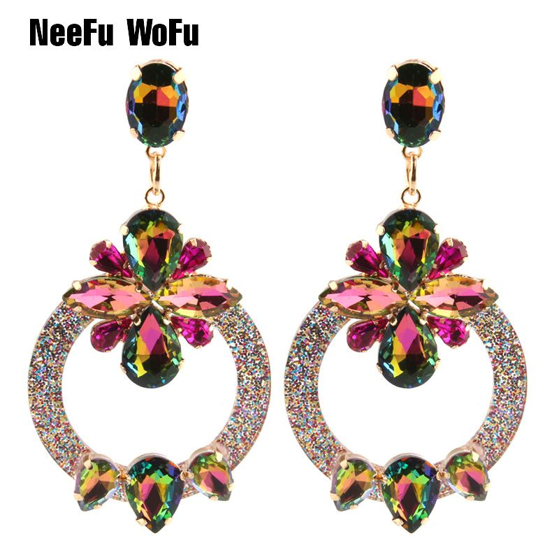 NeeFu WoFu Drop Resin Earrings Brand Crystal Earring Big Earring Large Long  Brinco Ear Accessories Oorbellen Christmas Gift 903a5232ce65