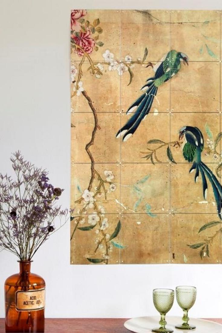 Ixxi Panel Of A Chinese Wallpaper Wandsysteem 100 X 80 Cm Behangpapier Schilderen Behang Ideeen Wallpaper
