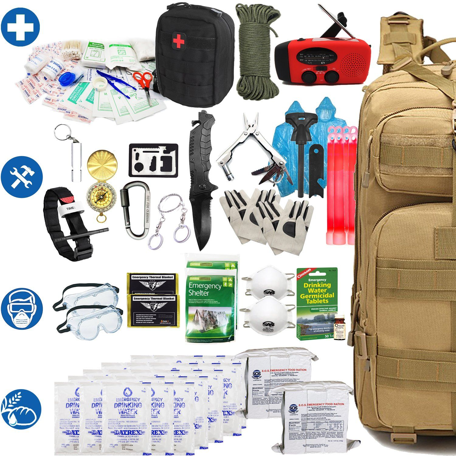 Amazon Com Everlit Earthquake Emergency Kits Survival Kit 72 Hrs 2 Person Bug Out Bag For Hurrican Earthquake Emergency Kit Emergency Survival Kit Bug Out Bag