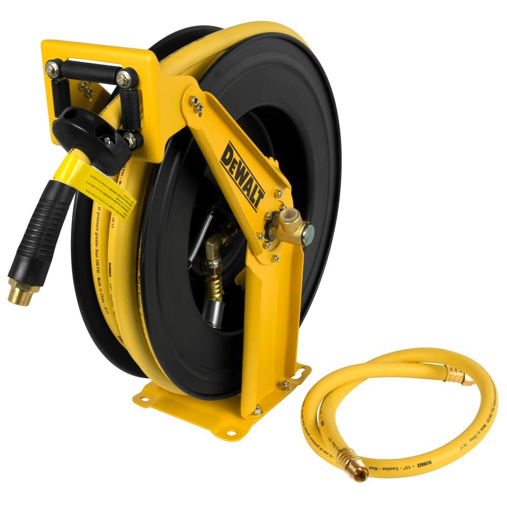 Dewalt 1 2 In X 50 Ft Double Arm Auto Retracting Air Hose Reel Dxcm024 0344 The Home Depot Air Hose Reel Hose Reel Air Hose
