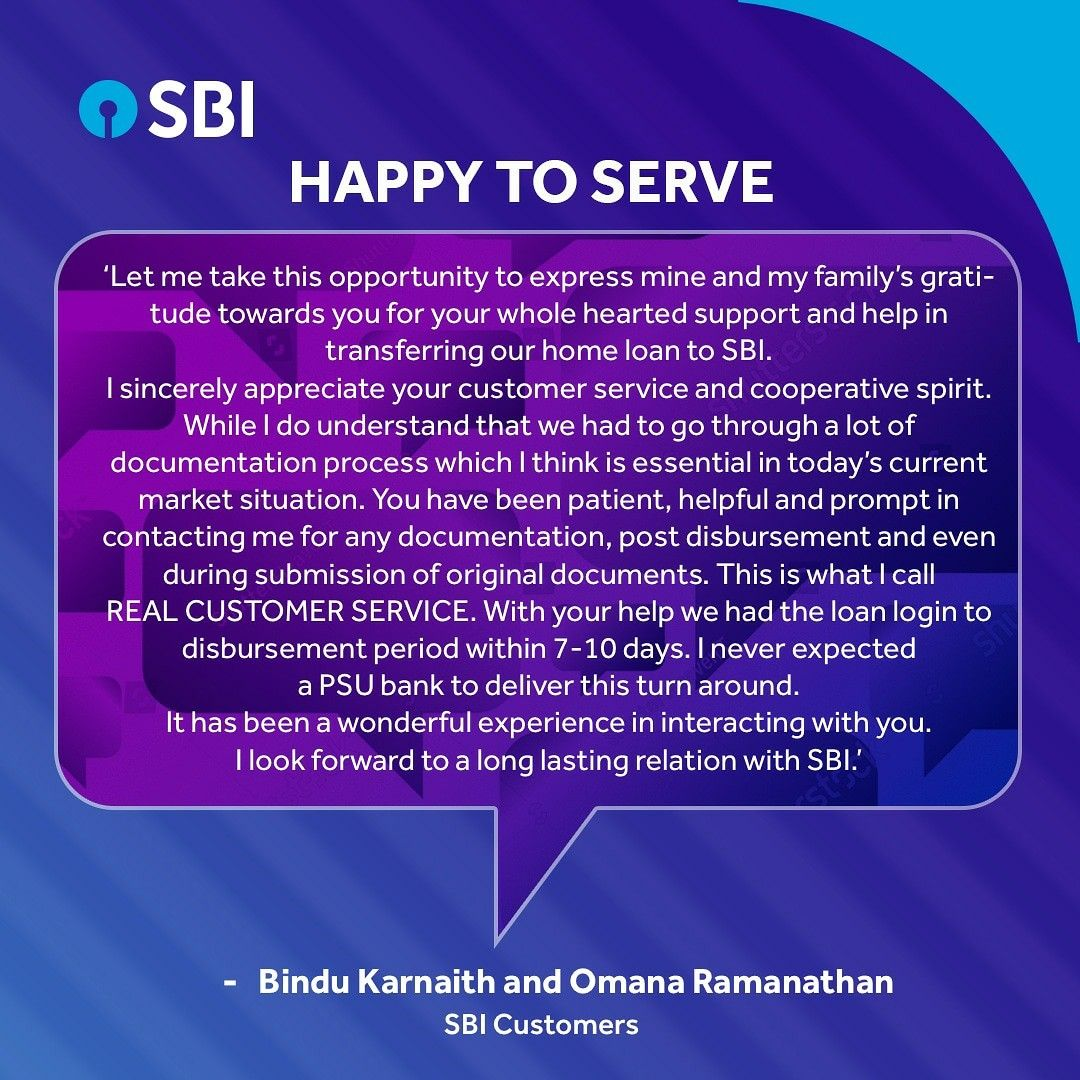 Thank You For Your Acknowledgement And Appreciation Of Our Efforts The Sbi Staff Are Honoured To Assist All Ou Customer Testimonials Life Goals Understanding