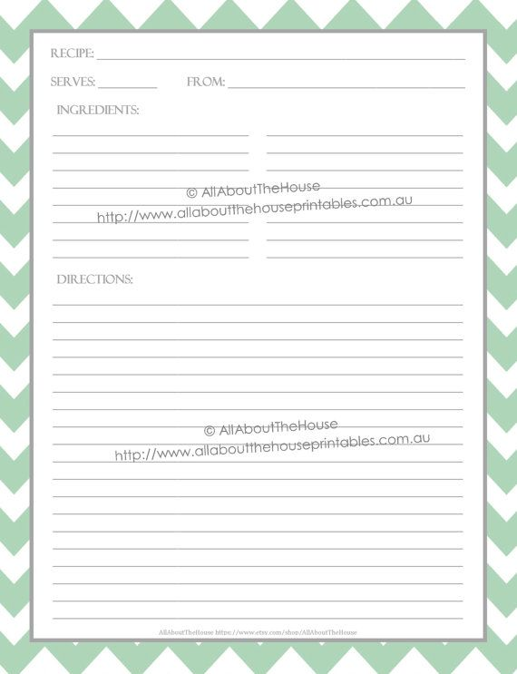 Editable Recipe Binder Printables Recipe Sheet Recipe Card Recipes