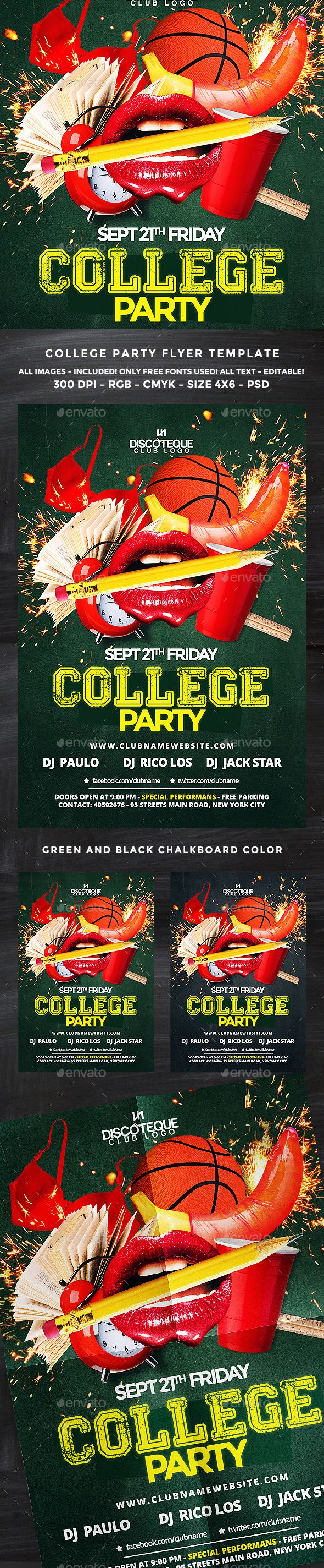 College Flyer | Flyer template, Template and Party flyer