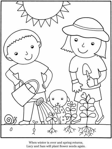 preschool plant coloring pages | Color & Garden FLOWERS Dover Publications | Flower ...