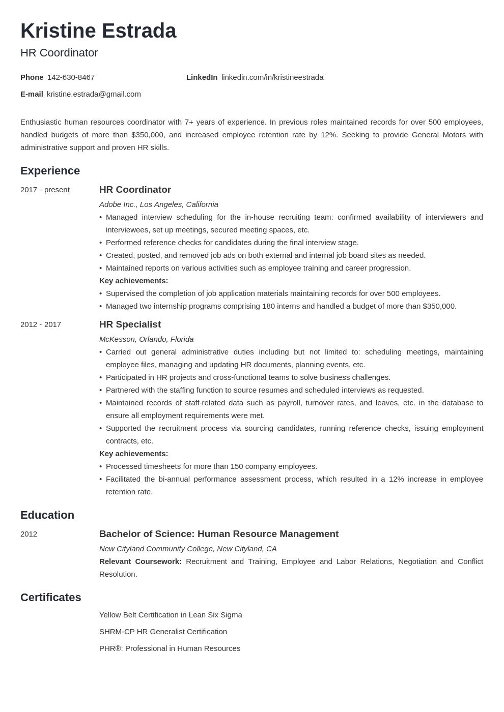hr coordinator resume example template minimo in 2020