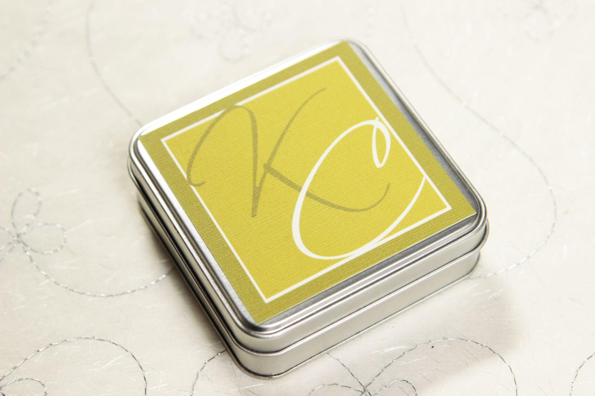 Metal square wedding invitation box