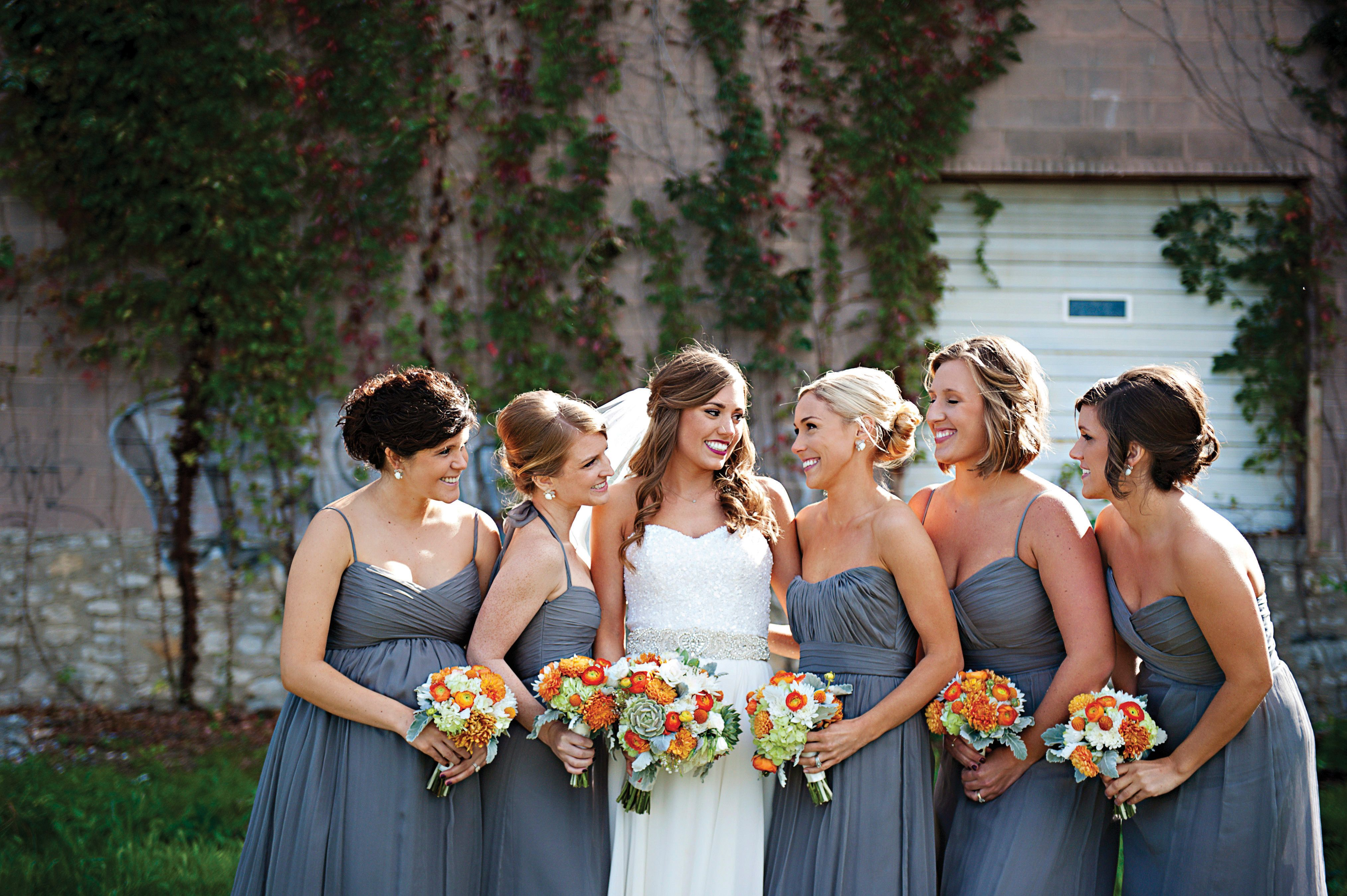 Graphite gray amsale bridesmaid dresses bridesmaid 2017 a modern orange wedding with rustic twist at the guild in kansas city missouri ombrellifo Gallery