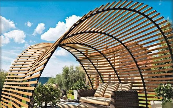 Artistic Curved Roof Pergola Designs Like Shade Canopy For Small Backyards  With Beautiful Brown Wicker Patio Sofa Sets Design - Artistic Curved Roof Pergola Designs Like Shade Canopy For Small
