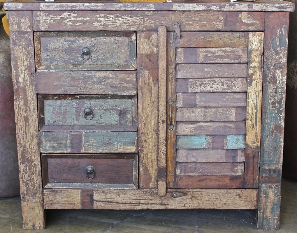 Reclaimed rustic teak cabinet with single shutter door and 3 drawers