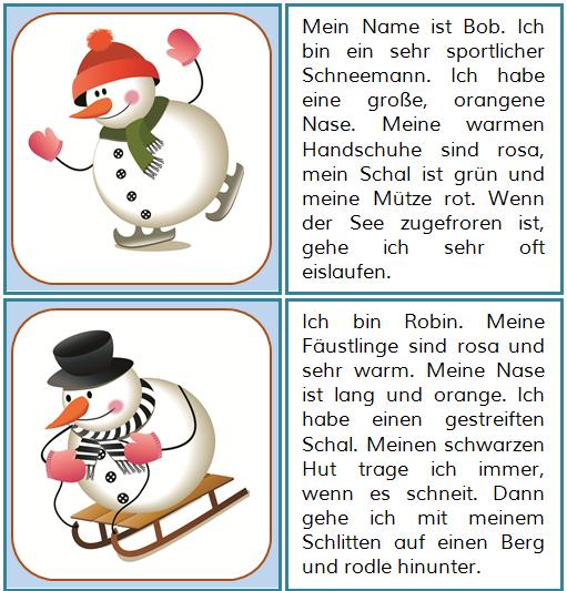 winter lesekarten deutsch german language learn german und language. Black Bedroom Furniture Sets. Home Design Ideas