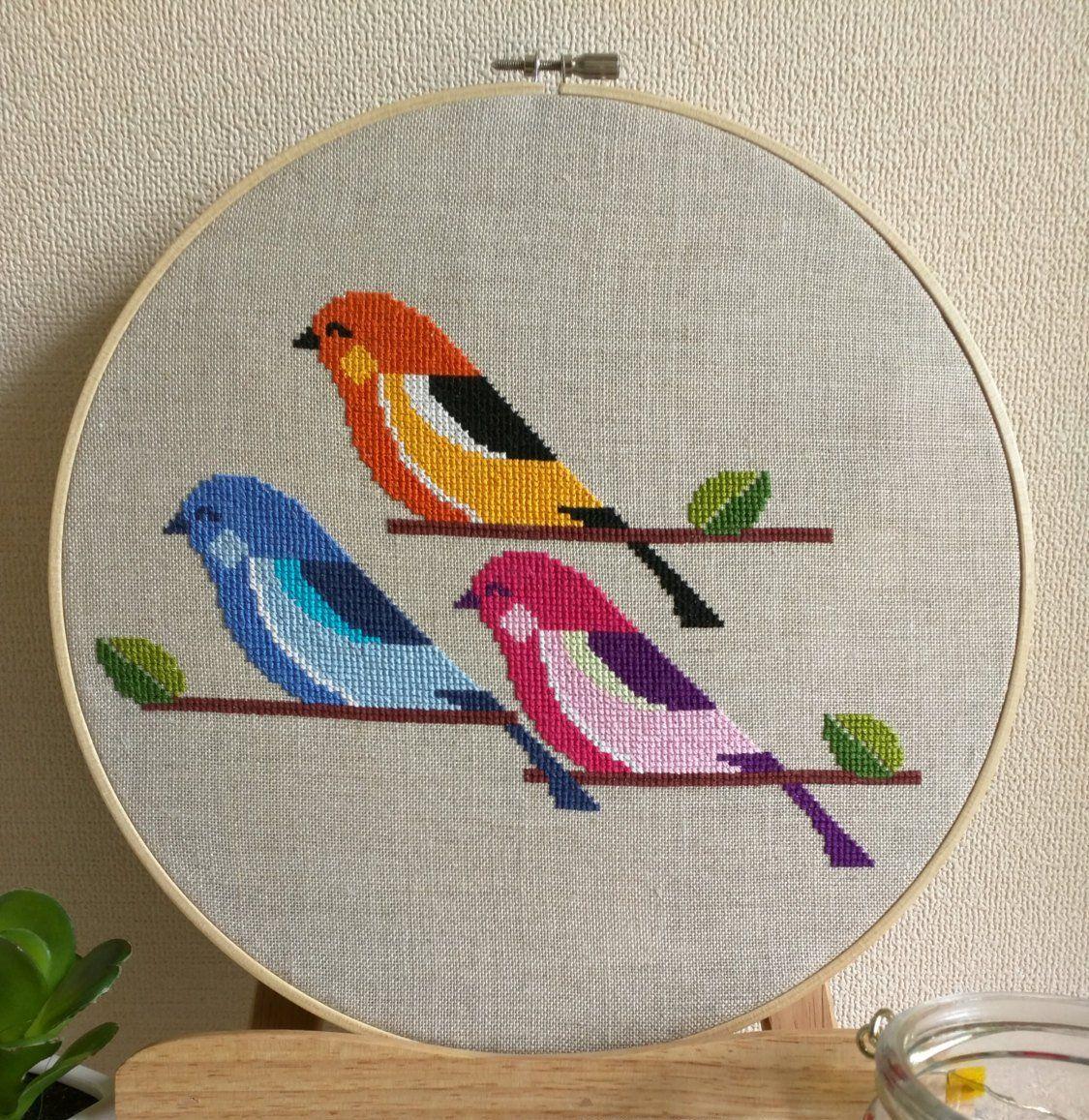 cross stitch three little birds pdf pattern instant download etsy cross stitch bird cross stitch embroidery cross stitch