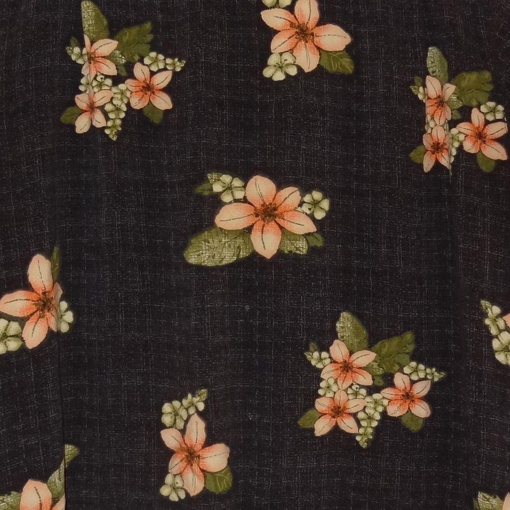 20201344a Aloha Hawaiian Shirt Flowers Leaves Plaid Size 3XL 54 to 56 Black Pink  Puritan #Puritan #Hawaiian