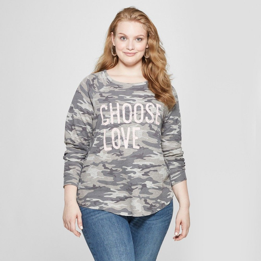 6b3a017e3cb Women s Plus Size Long Sleeve Choose Love Camo Graphic T-Shirt - Grayson  Threads (Juniors ) Gray 2X