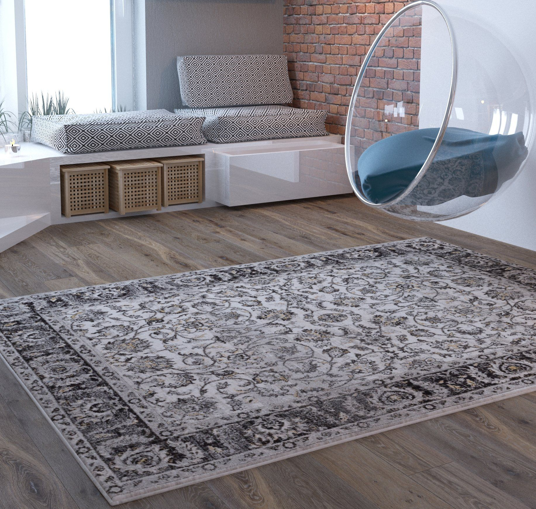 Beige Traditional Distressed 5 X 7 [ 53 X 73 ] Area Rug Modern Vintage  Transitional Rug Soft Living Dining Room Contemporary Area Rug U003eu003eu003e Click On  The Image ...