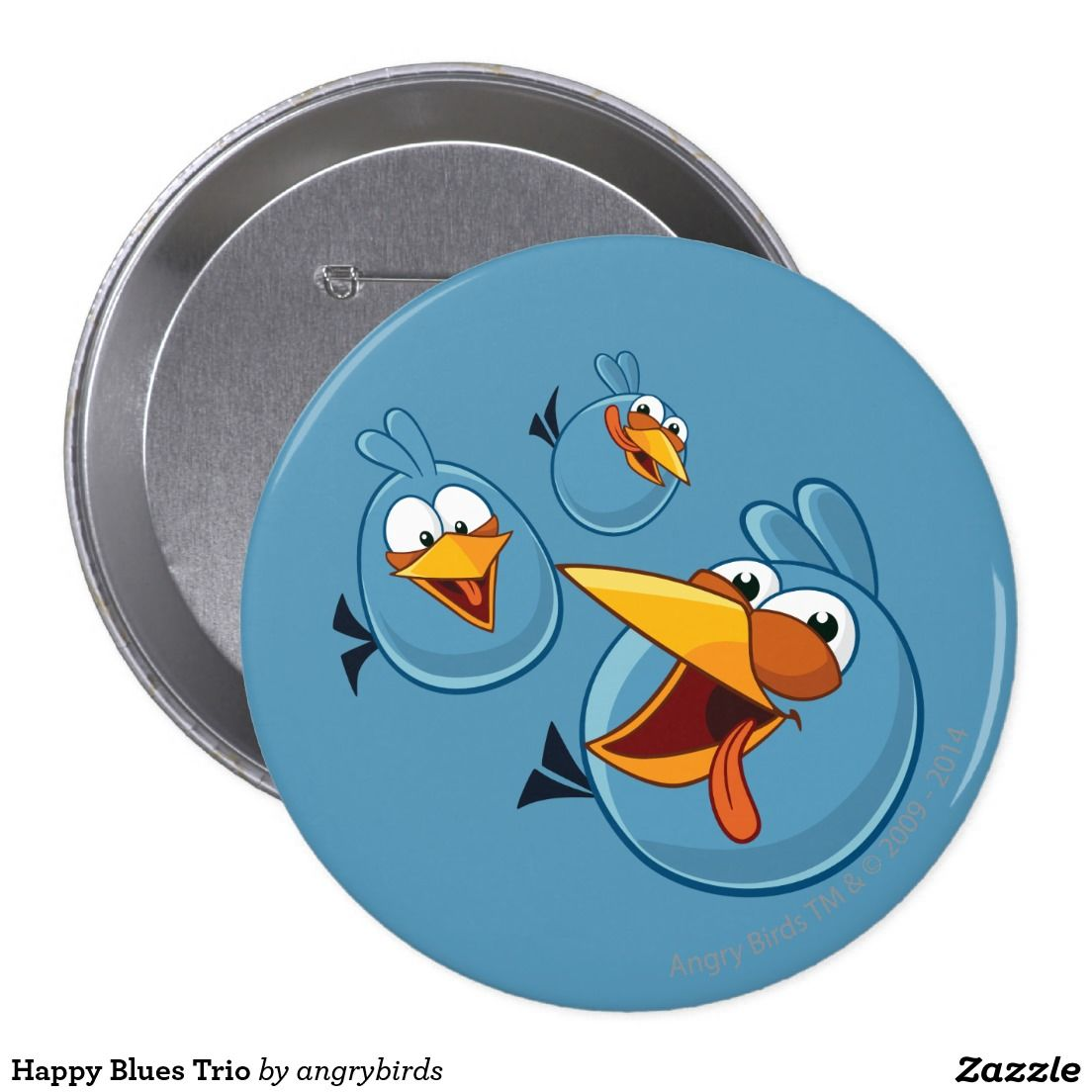Angry Birds - Happy Blues Trio 4 Inch Round Button. Regalos, Gifts. Producto disponible en tienda Zazzle. Product available in Zazzle store. Link to product: http://www.zazzle.com/happy_blues_trio_4_inch_round_button-145883476625453274?CMPN=shareicon&lang=en&social=true&rf=238167879144476949 #chapa #button
