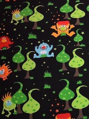 Jersey Buuhs im Zauberwald auf schwarz Schönes von Emilu Monster Sterne COUPON