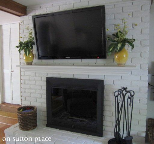 how to mount a tv on a brick fireplace, entertainment rec rooms, fireplaces  mantels, By hanging the TV over the fireplace I was able to combine 2 focal  ...