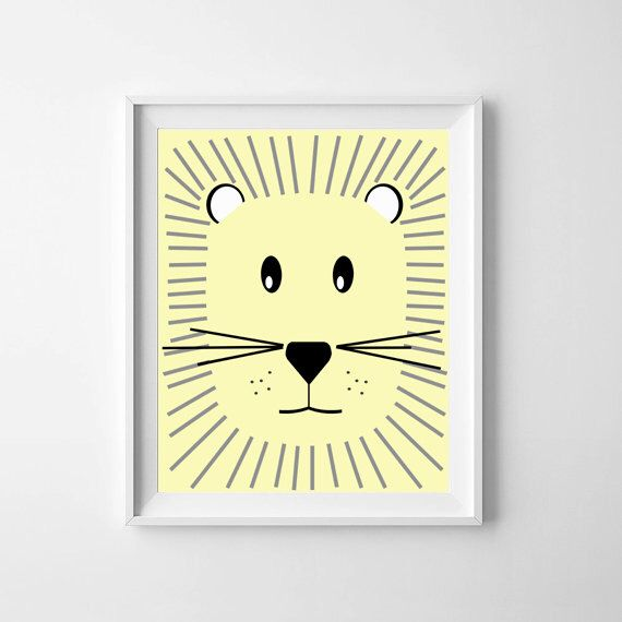 Baby wall art printable or print, Baby Lion (Yellow), Scandinavian ...