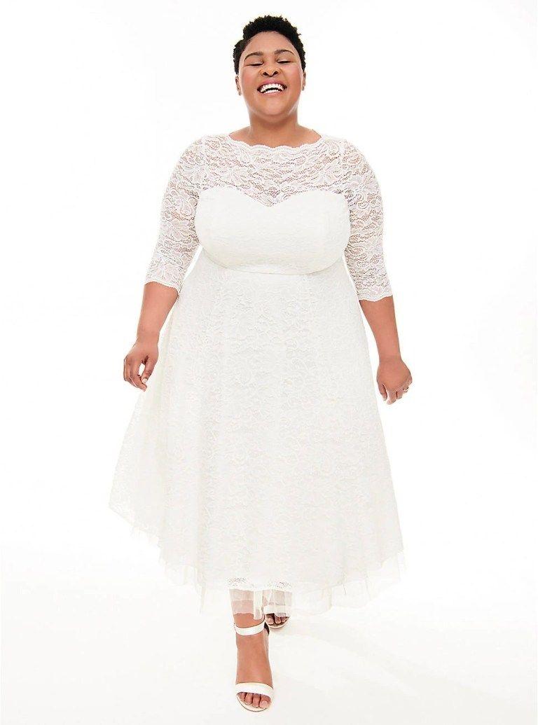 Ivory Lace Tea Length Wedding Dress White Lace Midi Dress Plus Size Brides Tea Length Wedding Dress [ 1035 x 768 Pixel ]