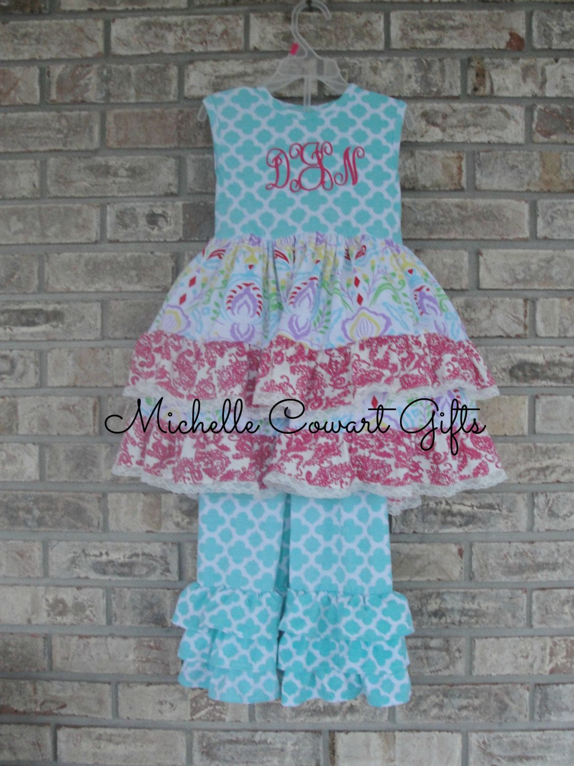 4e298f2c Monogrammed Ruffle Set, Personalized Easter Outfit, Easter Dress, Ruffle  Pant Outfit, Girls, Toddler Outfit, RTS, Girls Floral Dress by  MichelleCowartGifts ...
