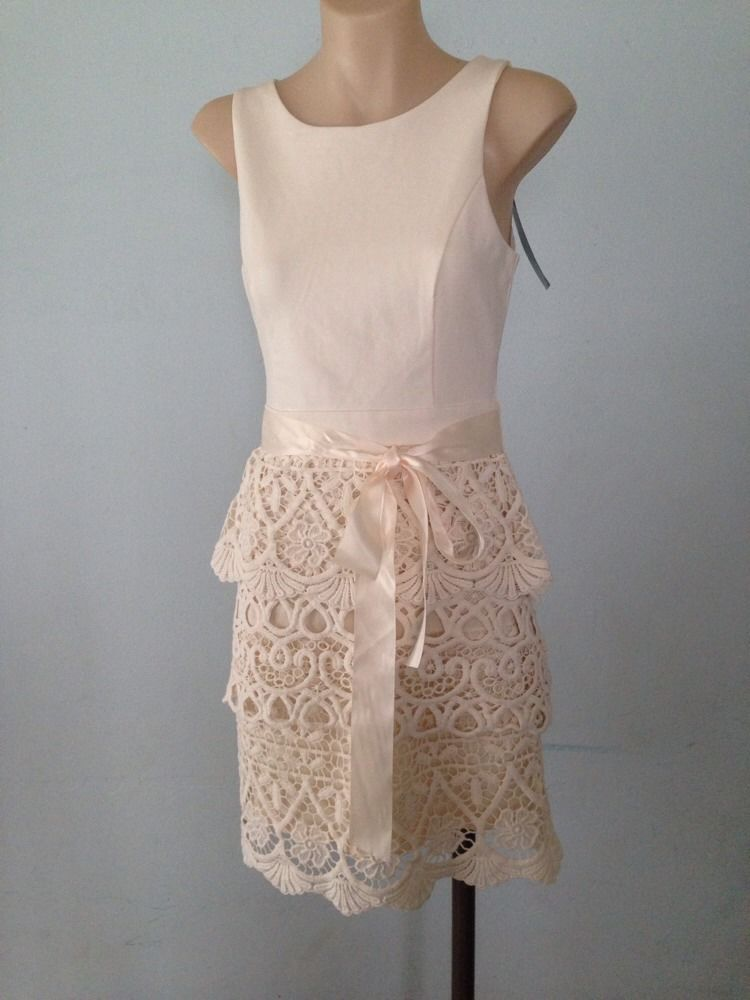 Size 6 Forever New Ladies Brearne Crochet Skirt Dress Ivory Powder