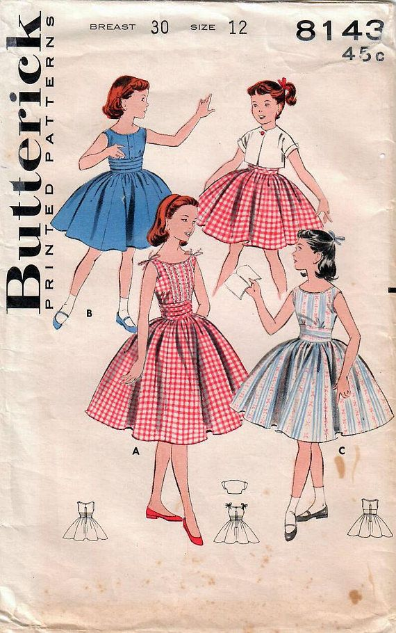 1950s Butterick 8143 Vintage Sewing Pattern Girls Party Dress ...