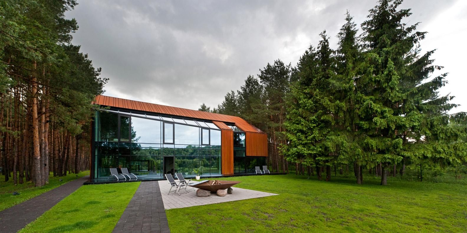 House · Unusual Glass Modern House In Forest ...