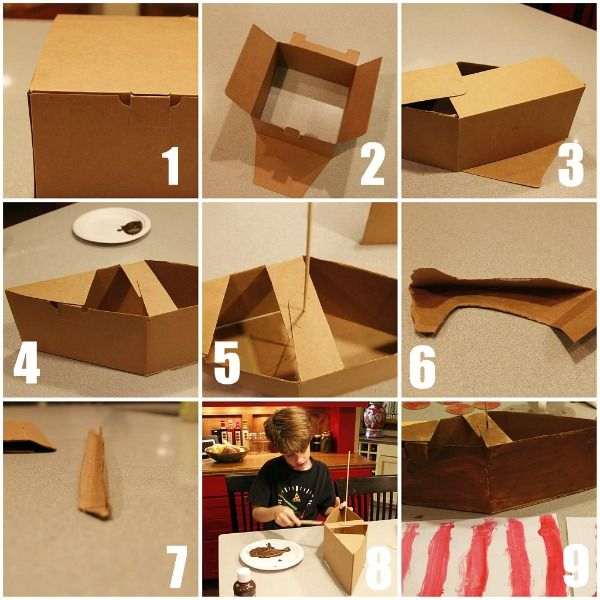 Make a viking ship reese 39 s nautica party pinterest for Cardboard pirate ship template