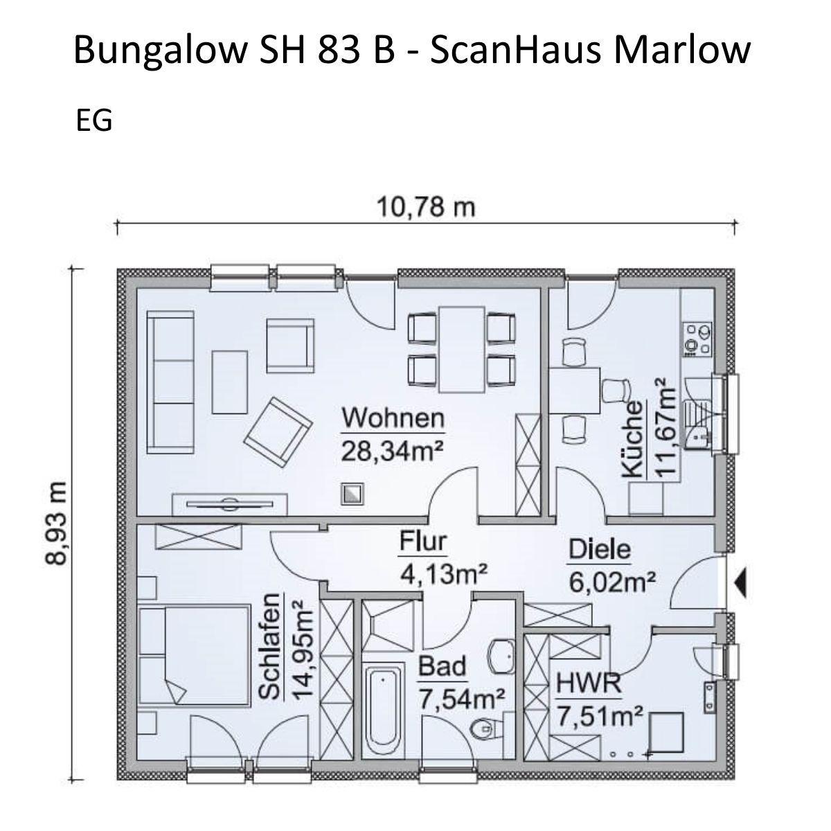 Grundriss Bungalow Haus Neubau modern mit Walmdach