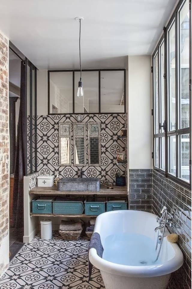Miroir trumeau #Verrière #Carreaux de ciment | loo | Bathroom ...