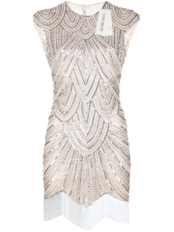 cfa376e3679 Vikoros 1920s Art Deco Great Gatsby Inspired Tassel Beaded Flapper Dress at  Amazon Women s Clothing store