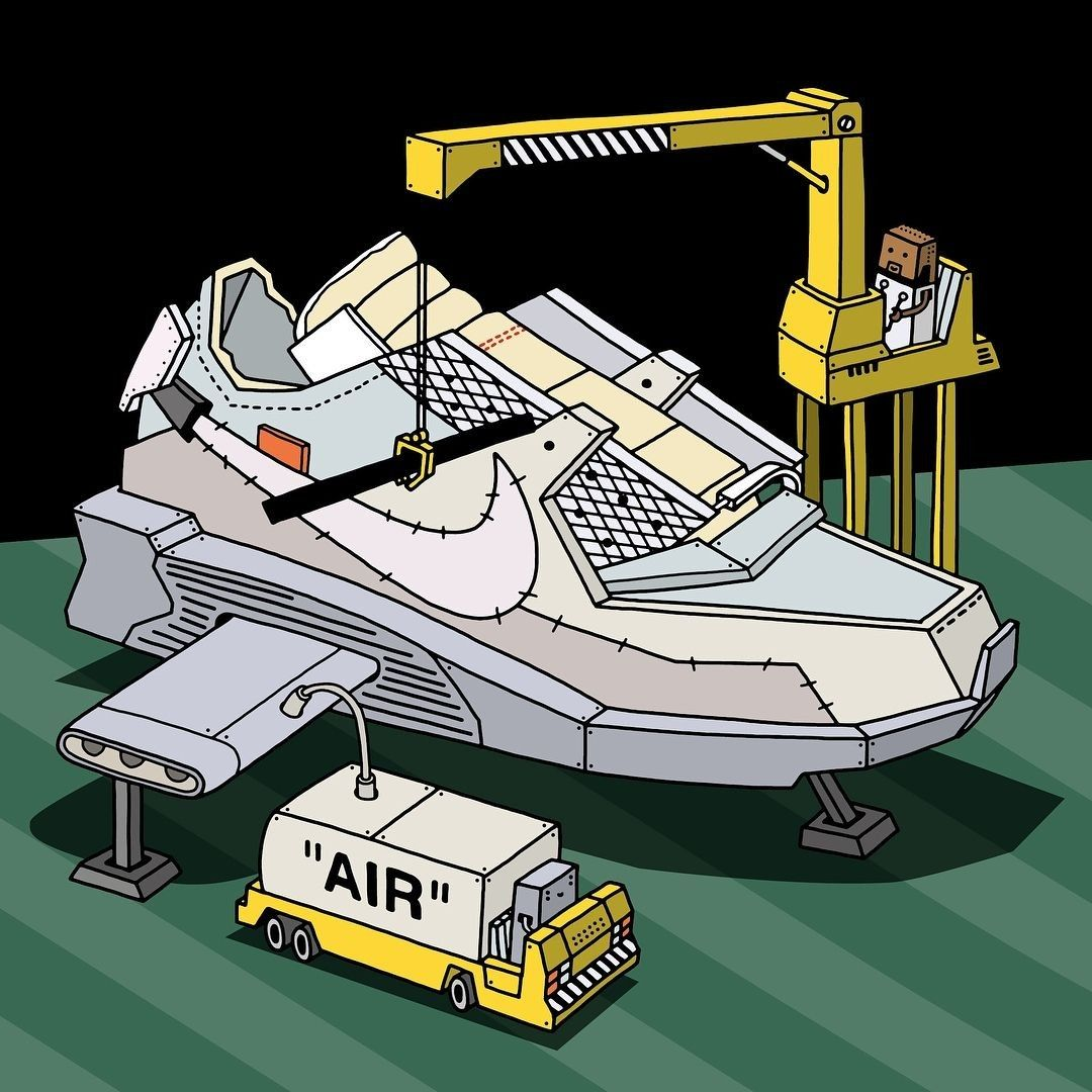 Collaboration Sneakers Illustrated By Ghicapopa Offwhite Nike