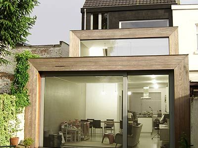 Moderne woning renovatie kubus gent architect for Moderne rijwoning