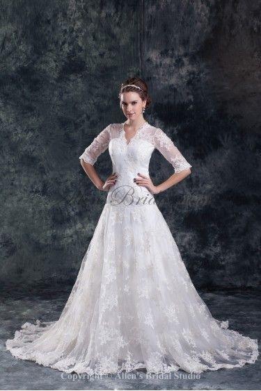 724918ec96 Lace V-Neck Neckline Sweep Train A-line Half-Sleeves Wedding Dress ...