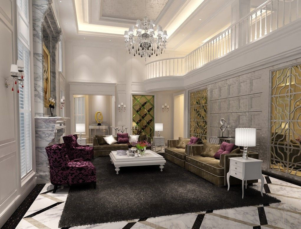 Luxury Living Room With High Ceilings And A Marble Floor Marble