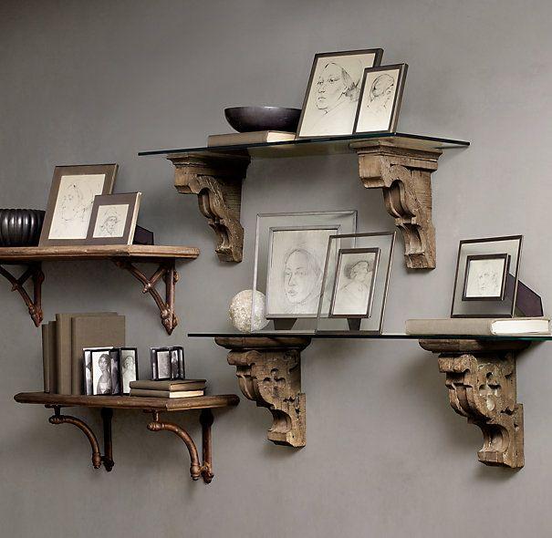 gothic corbel u0026 glass shelf and aris corbel u0026 glass shelf restoration hardware bookshelf