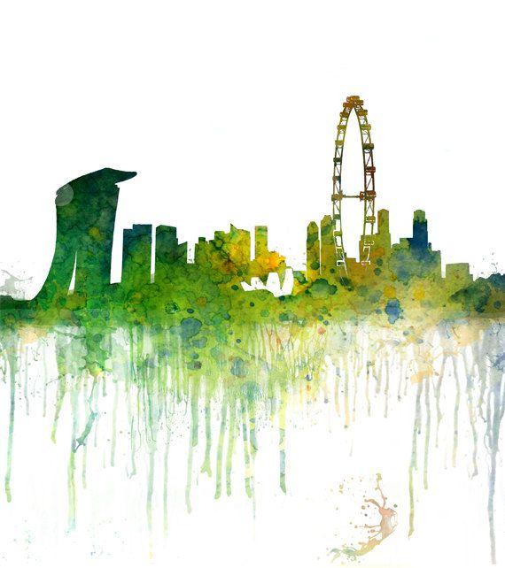 Art Print Singapore Watercolor Skyline Painting Wall Art Skyline Painting Singapore Art Cityscape Painting