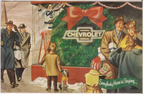 Vintage 1950s Harrell CHEVROLET Car Dealership Christmas Card THOMASVILLE NC
