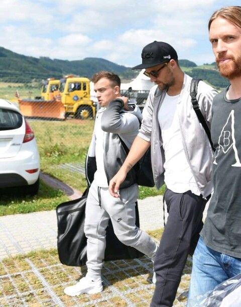 Swiss Football Team Xherdan Shaqiri Haris Seferovic And Michel Lang